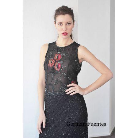 2711 BLACK-RED Evening Top