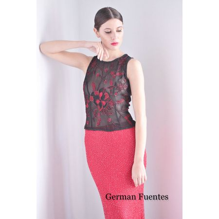 9789 BLACK-RED Evening Top